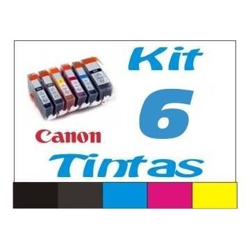 Maxi Kit Pro recarga cartuchos tinta para Canon PGI-525 CLI-526 negro, gris y color, 6 tintas