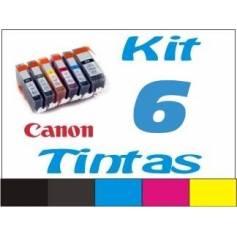 Maxi Kit Pro recarga cartuchos tinta Canon PGI-525 CLI-526 negro, gris y color, 6 tintas