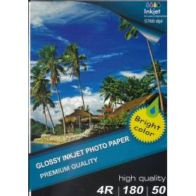 10X15 R4 High Glossy Inkjet Photo Paper 180g-50 hojas