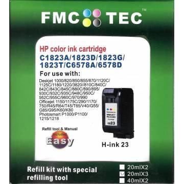 Mini Kit de Recarga FMC TEC, clónico Inktec, para HP 41 Hp 78 Hp 23 Hp 17 color 20ml x 3.