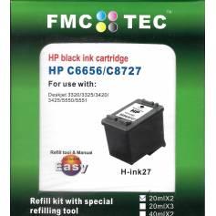 Mini Kit de Recarga FMC TEC, clónico Inktec, HP 21 para HP 27 para HP 56 negro. 20ml x 2.