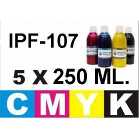 Pack 5 botellas 250 ml. tinta pigmentada para Canon PFI-107