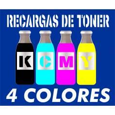 Para Oki series c9000. recargas de tóner cuatro botellas cmyk de 400 g.