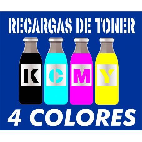 8 recargas tóner para Oki es8460 mfp 4 botellas cmyk brillo de 500 g.