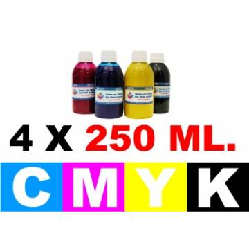 Pack 4 botellas de 250 ml. tinta para cartuchos para Hp cmyk