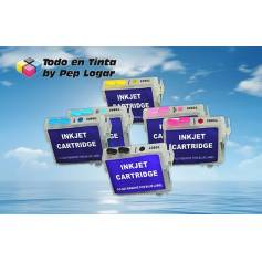 T0791 - T0796 6 cartuchos recargables Epson photo 1500W