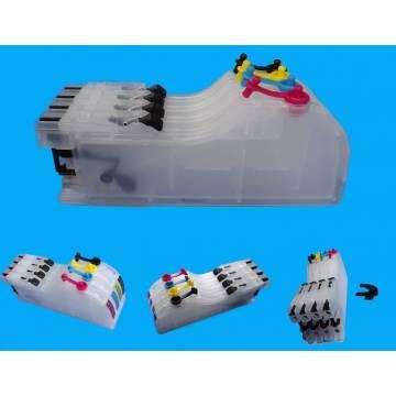 para Brother LC123 LC125 4 cartuchos recargables gran capacidad sin chip