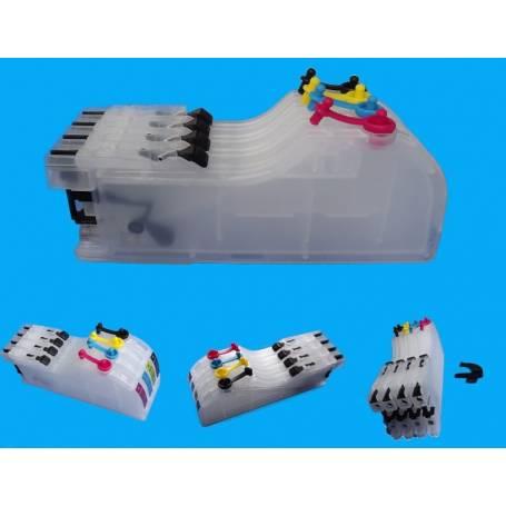 Brother LC123 LC125 4 cartuchos recargables gran capacidad sin chip