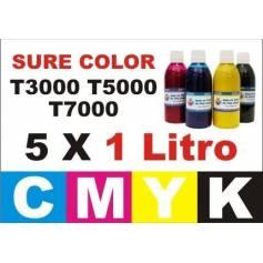 pack 5 botellas 1 litro tinta pigmentada para Sure color T3000 T5000 T7000
