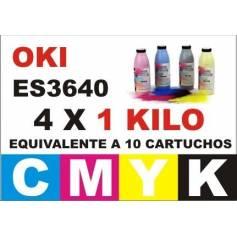 .Maxi Kit Oki ES3640 ES3640E recargas toner CMYK 4 Kgr.