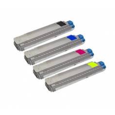 Para Oki c8600 c8800 cmyk pack 4 cartuchos tóner reciclados 11k