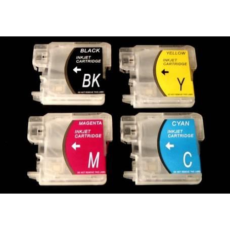 Brother LC-980, LC-985 LC-1100 4 cartuchos transparentes recargables