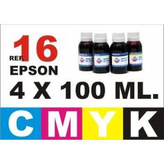 Pack 4 botellas 100 ml. tinta para rellenar cartuchos Epson 16 xl