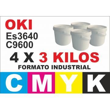 Para Oki tóner c9600 c9800 es3640 pack 4 x 3 kg. cmyk industrial