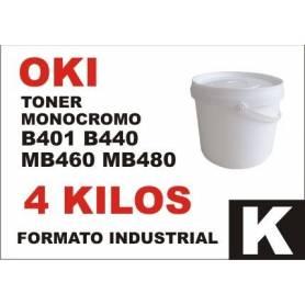 Oki toner monocromo B411 B431 B430 B440 MB460 formato industrial 4 Kg.