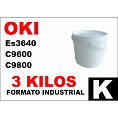Oki toner color ES3640 C9600 C9800 C910 NEGRO formato industrial 3 Kg.