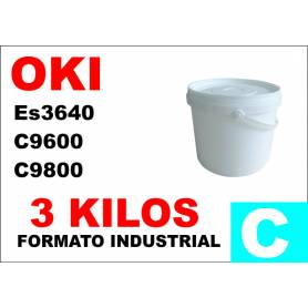 Oki toner color ES3640 C9600 C9800 C910 CIAN formato industrial 3 Kg.