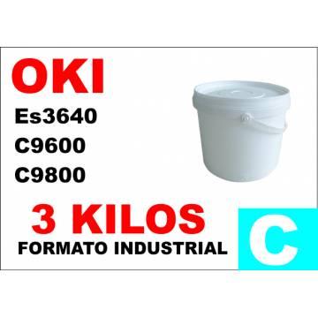 Para Oki tóner es3640 c9600 c9800 c910 cian industrial 3 kg.