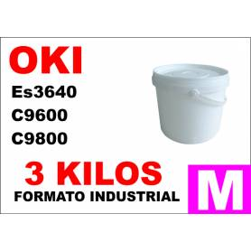 Oki toner color ES3640 C9600 C9800 C910 MAGENTA formato industrial 3 Kg.