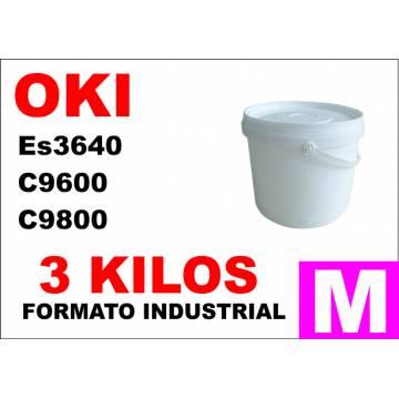 para Oki toner color ES3640 C9600 C9800 C910 MAGENTA formato industrial 3 Kg.