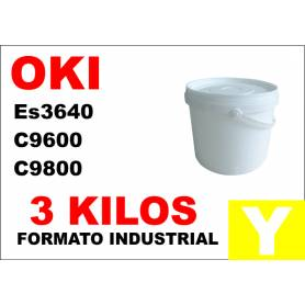 Oki toner color ES3640 C9600 C9800 C910 AMARILLO formato industrial 3 Kg