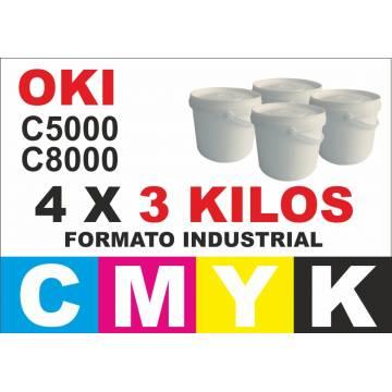 Oki tóner series c5000 c8000 c700 c800 4 x 3 kg cmyk formato industrial