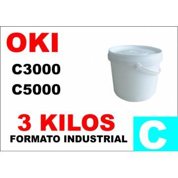 Oki tóner color c5000 c8000 c700 c800 cian formato industrial 3 kg