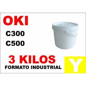 Oki toner color series C300 C500 AMARILLO formato industrial 3 Kg