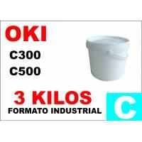 Oki toner color series C300 C500 CIAN formato industrial 3 Kg