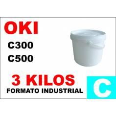 Oki tóner color series c300 c500 cian formato industrial 3 kg