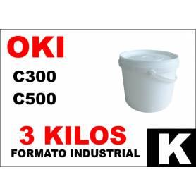 Oki toner color series C300 C500 NEGRO formato industrial 3 Kg