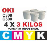 Oki toner color series C300 C500 4 x 3 kg CMYK formato industrial