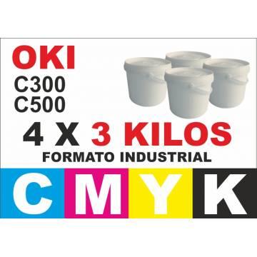 Oki tóner color series c300 c500 4 x 3 kg cmyk formato industrial