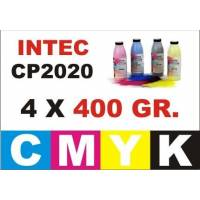 .Kit Intec CP2020 4 recargas toner CMYK de 400 gr.