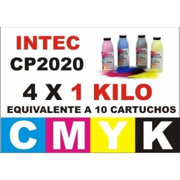 Maxi kit para Intec cp2020 xp2020 recargas tóner cmyk 4 kg.