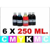 pack 6 botellas 1 Litro tinta para cartuchos HP BkpgCMYCcMc