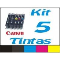 Maxi Kit Pro recarga cartuchos Canon CLI-8 PGI-5 y BCI-6 BCI-3Bk 5 tintas