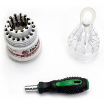 Destornillador de precisión con 30 puntas intercambiables