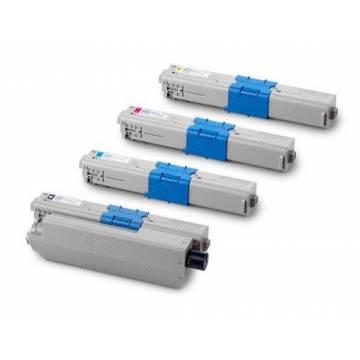 para Oki C301 C321 MC332 MC342 juego de 4 cartuchos toner reciclados 3.000 pag. doble carga