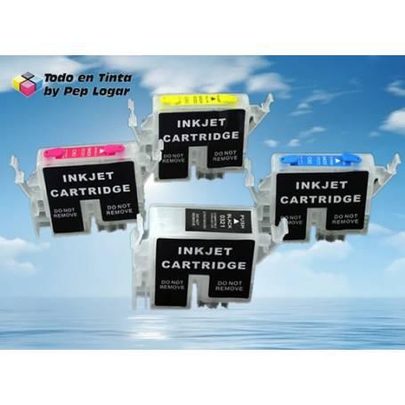T042X pack de 4 cartuchos recargables transparentes vacios para C82 CX5200 CX5400