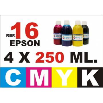 Pack 4 botellas 250 ml. tinta para rellenar cartuchos Epson 16 xl