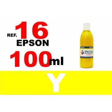 Para cartuchos Epson 16 16 xl botella 100 ml. tinta compatible amarilla