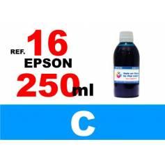 Para cartuchos Epson 16 16 xl botella 250 ml. tinta compatible cian