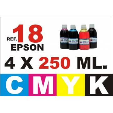 Para cartuchos Epson 18 18 xl pack 4 botellas 250 ml. cmyk
