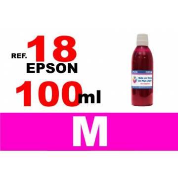 Para cartuchos Epson 18 18 xl botella 100 ml. tinta compatible magenta
