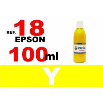 Para cartuchos Epson 18 18 xl botella 100 ml. tinta compatible amarilla