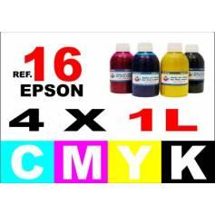 Epson 16, 16 XL pack 4 botellas 1 L. CMYK