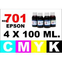 Epson 701, 701 XL pack 4 botellas 100 ml. CMYK