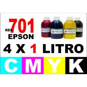 Epson 701, 701 XL pack 4 botellas 1 L. CMYK