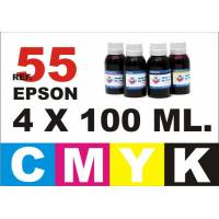 Epson 55, 55 XL pack 4 botellas 100 ml. CMYK